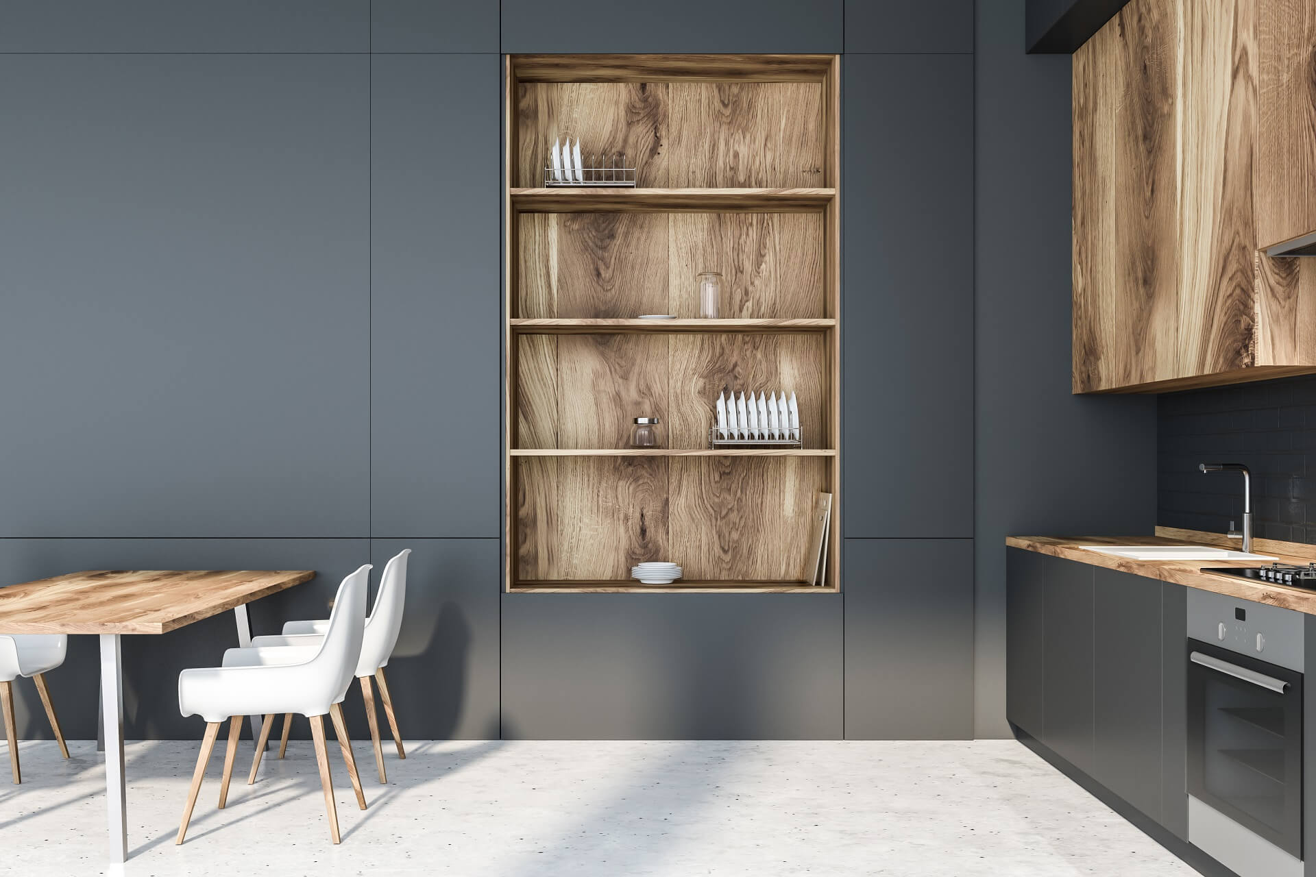 GREY WITH WOOD ACCENTS RENDER